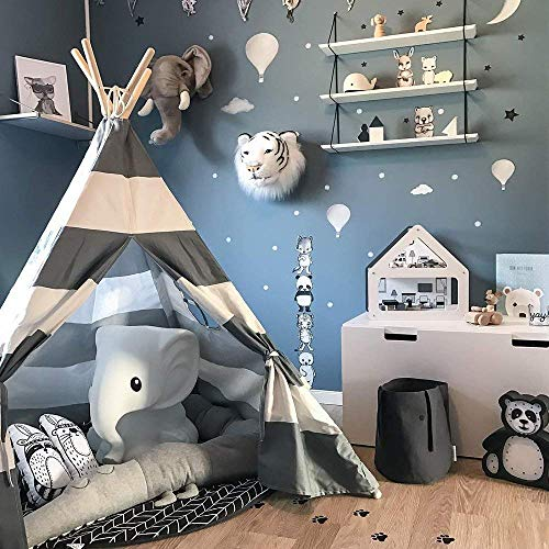(Wonder Space Kids Teepee Play Tent Children Baby Toddlers Nursery Tent Playhouse for Indoor Outdoor, Raw Handmade Cotton Canvas with Mat Floor, Grey Stripes)