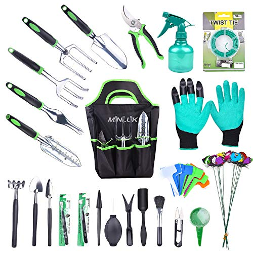 MINLUK 54PCS Garden Tools Set, Heavy Duty Metal Garden Tools Fleshy Tool Set, Non-Slip Handle Material, Durable Storage…