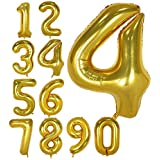 40 Inch Gold Foil Balloons Number 4,Number Balloons for Party