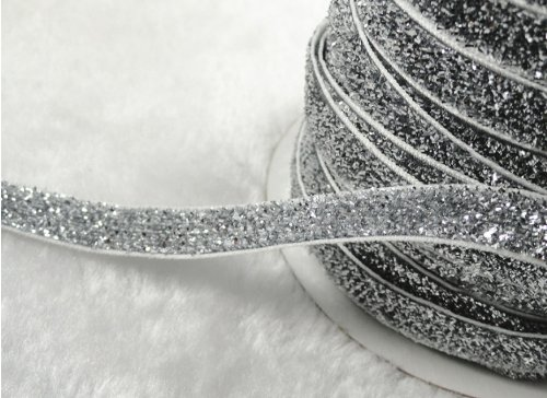YAKA 25Yards 3/8-inch Wide Premium Glitter Glitter Velvet Sparkle Fabric Ribbon for Wedding, Holiday, Home Decoration, Gift Wrap (Silver)