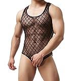 YUFEIDA Sexy Men's Jumpsuit Black Bodysuit
