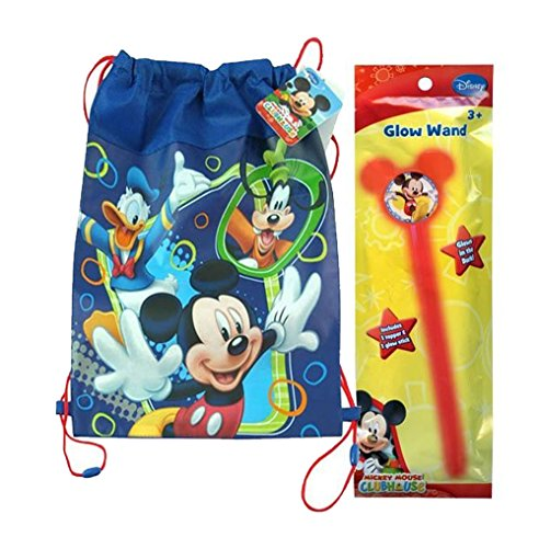 Disney Mickey Mouse Inspired Happy Halloween Trick or Treat Draw String Loot Tote Bag! Plus Bonus Mickey Mouse Glow Wand!