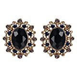 EVER FAITH Women's Austrian Crystal Vintage Style Hollow Oval Stud Earrings Black Gold-Tone
