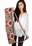 Tribe Azure Thick Woven Canvas Jacquard Cotton Yoga Mat Bag Fits Standard & Large Mat Lightweight Comfortable Full Zip Exercise
