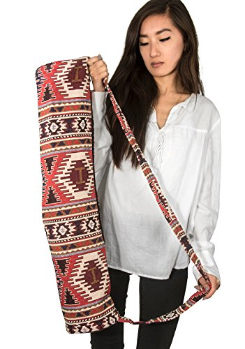 Tribe Azure Thick Woven Canvas Jacquard Cotton Yoga Mat Bag Fits Standard  Large Mat Lightweight Comfortable Full Zip Exercise
