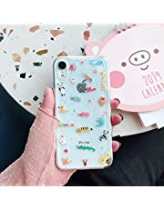DSAX Vintage Cute Animal Glitter Zoo Phone Case for iPhone Xs MAX XR X zachte TPU for iPhone 6 6s 7 8 plus eenvoudige paar Cover (Color : 1, Material : For iPhone 7 8)