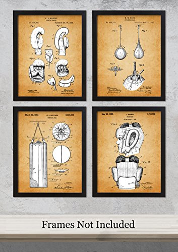 - Qi Tribe Home - Vintage Boxing Patent Unframed Art Prints: Set of Four Photos (8x10) – Great Gift Idea for Boxing Fans!