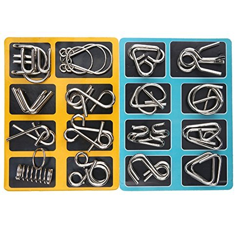 Lezhi IQ Toys-AB A+B Test Mind Game Brain Teaser Wire Magic Trick Toy IQ Puzzle Set (Pack of 16), Metallic ()