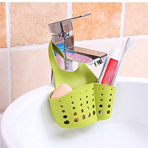 Kloud City Pack of 3 Silicone Faucet Hanging Drain Basket Kitchen Sink Caddy Soap Sponge Holder Organizer Kitchen Bathroom Gadget Storage Bag