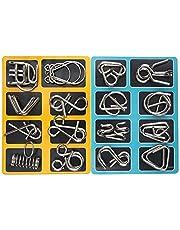 Puzzelspellen Capalta bloem 16 stuks metalen knobbelei IQ-spellen set IQ Test 3D Brainteaser puzzel metalen puzzel geschenken voor kinderen tieners en volwassenen kerstcadeau