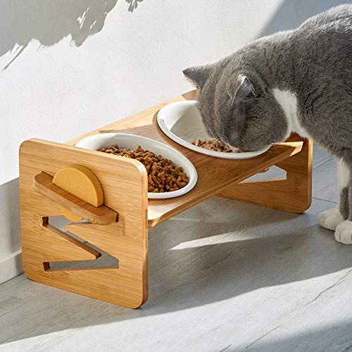 VODESON Raised Pet Bowls for Cats and Small Dogs,Dog Supplies Elevated Small Dog Cat Food and Water Bowls Adjusts to 4 Heights,Stand Feeder with 2 Ceramic Bowls and Anti Slip Feet