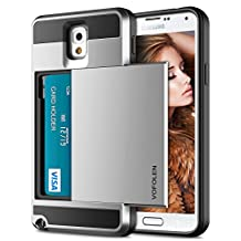 Galaxy Note 3 Case, Vofolen Galaxy Note 3 Wallet Cover Carrying Case Armor Slim Fit Protective Shell Hard PC Case + Soft TPU Bumper Cover with Card Holder Slot for Samsung Galaxy Note 3 (Silver)