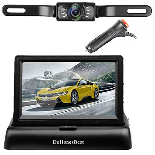 DohonesBest Backup Camera Kit,4.3'' Color HD LCD Foldable Rear View Monitor for Car/SUV/MPV/Van IP68 Waterproof Night Vision License Plate Reverse Back Up Camera