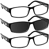 Sun Reading Glasses 1.50 Black 3 Pack Always Have a Timeless Look, Crystal Clear Vision, Comfort Fit with Sure-Flex Spring Hinge Arms & Dura-Tight Screws