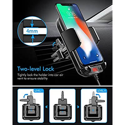 Tecboss Bluetooth FM Transmitter for Car, Latest Car Phone Holder Radio Bluetooth Adapter, Easy Attached to Air Vent, Supports Music Streaming, Enhanced Bass, Wireless Hands Free Car Kit - KM21: MP3 Players & Accessories