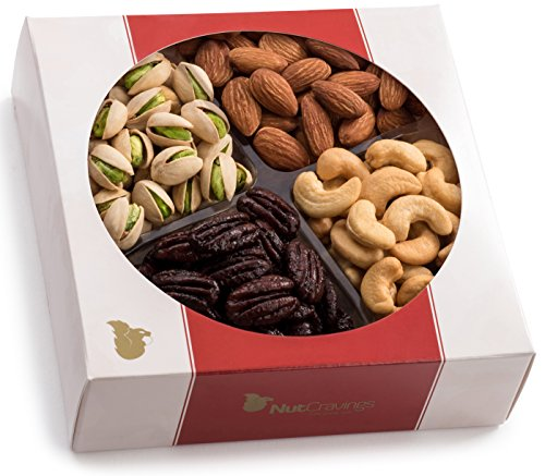 Nut Cravings Gourmet Nut Medium Holiday Gift Tray with Striking Presentation - 4-Section Holiday or Anytime Assorted Nuts Gift Baskets (Mixed Nuts Gift)