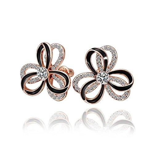 Green Earrings Rose Gold,Ladies Earrings Flower Stud Earrings Ladies Of Fashion Earrings