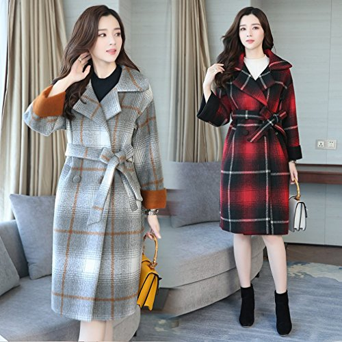 Autumn Grey Coat Loose Paragraph and WYF in Women Lattice Jacket Double 'S Long Winter the Cashmere Sided Fashion Size Large dHqpWxA