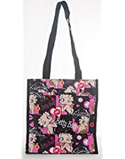 Betty Boop Reusable Black Tote Bag - Zippered Pockets & Waterproof Exterior