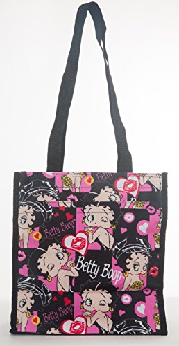- Betty Boop Reusable Black Tote Bag - Zippered Pockets & Waterproof Exterior