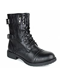 Women's Military Tactical Lace Up Mid Calf Combat Boots Shoes