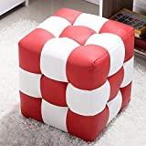 QTQZ Brisk- Work Creative pier Kids Square Footstool for Shoe Stool Around Sofa Stool Black and White szlig; Square Stool to wear Shoes Chair Leather Armchair Sofa Stool (Color Optional) (Color: 1)