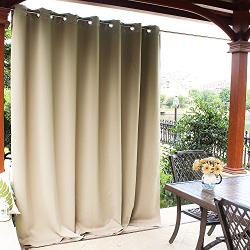 NICETOWN Pergola Outdoor Drape and Curtain - Front Proch Decor Thermal Insulated Rust Proof Silver Ring Top Room Darkening Blind for Outdoor Entertaining Space (Cream Beige, 1 Panel, 100 x 95 Inch)