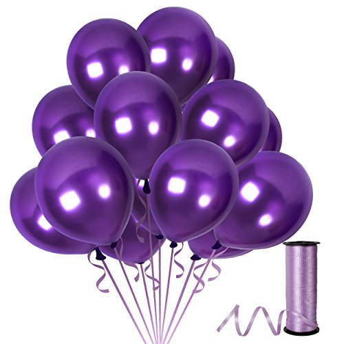 Purple Metallic Balloons 12 Inch Violet Thick Latex Balloon Pack of 100 and 65 Yards Curling Ribbons Party Supplies for Mardi Gras Masquerade Ball Wedding Bridal Baby Shower Birthday Decorations