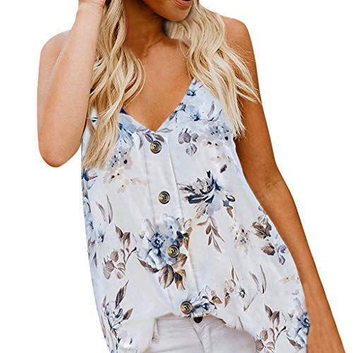 (Amlaiworld Womens Plus Size Tank Tops Camisole Top Sleeveless V Neck Button Floral Print Tee Top Loose Casual Shirts Blouse White)