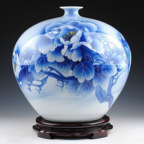 NEWQZ Chinese hand-painted Craft Vase, Jingdezhen pottery master Wu Wenhan Hand-Painted Porcelain Vase/Ceramic Vase Pomegranate Vase Flowers Bring Wealth and (Painted Pottery Vase)