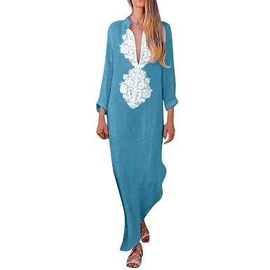 81c0fcdc47f4 Women's V-Neck Full Sleeve Maxi Dresses Cotton Linen Casual Elegant Split  Hem Kaftan Cover
