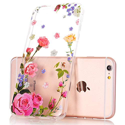 iPhone 6 Plus Case, iPhone 6s Plus Case, Floral Flower Design Clear Case, JDBRUIAN TPU Soft Protective Case Flexible Silicone Glossy Skin Cover Phone Case for iPhone 6 Plus & 6s Plus Pink Carnation (Design Cell Phone Skin)