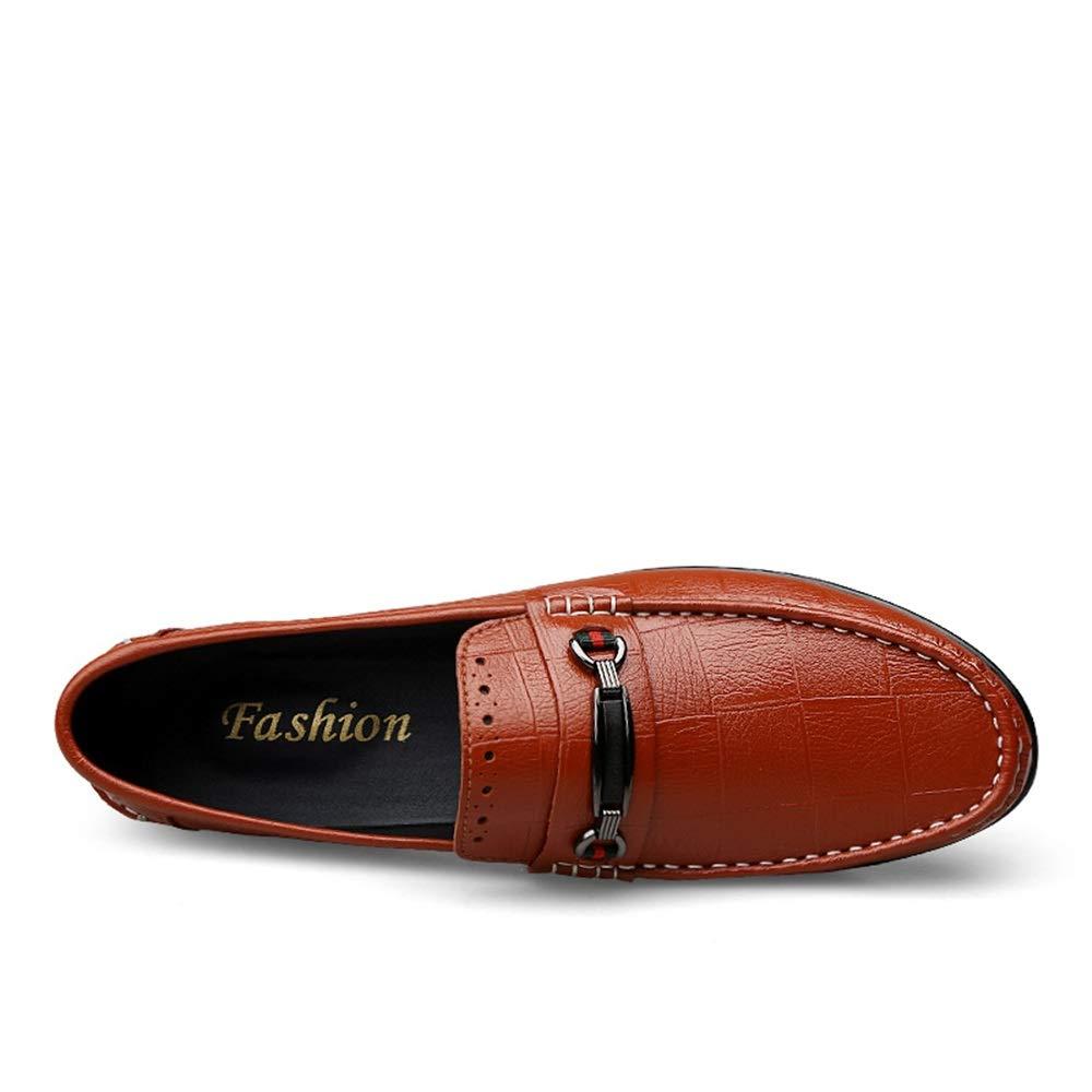 Stylish Flat Boat Moccasins Non-slip Leather Soft Lightweight Metal Decor Drving Shoes Color : Brown, Size : 8.5 UK Apragaz Summer Loafer for Men