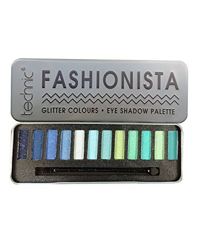 Eyeshadow Palette Tin Nude And Glitter Shades (Glitter Blue & Green) by Technic ()