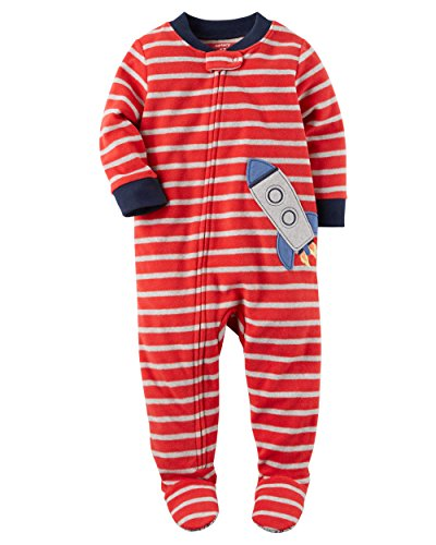 Ship Applique - Carter's Boys1 Piece Striped Rocket Ship Applique Zip Up Footed Pajama Red/Grey 6M