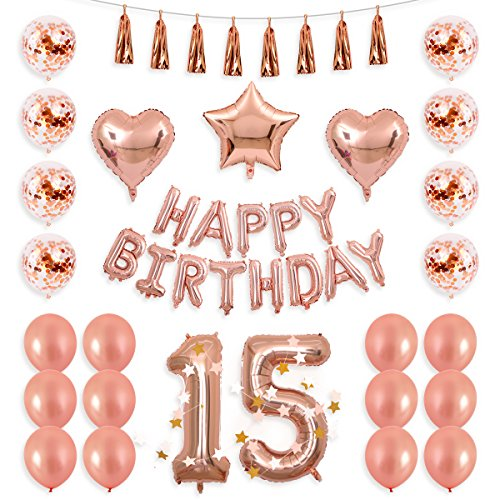 BALONA 40inch Rose Gold 15th Number Balloon 12inch Rose Gold Confetti Balloon with Happy Birthday Banner Star Balloon Heart Balloon Foil Rose Gold Tassel Garland for Birthday Party Decoration (Rose15)