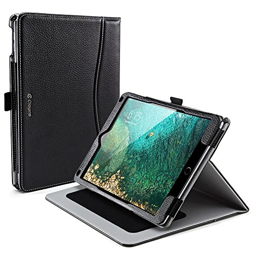 Clayco New iPad 9.7 2017 Case, [Slim Fit] [Multi-Angle] [Auto Wake/Sleep] Smart PU Leather Cover Case for New Apple iPad 9.7 inch 2017 Release (Black)