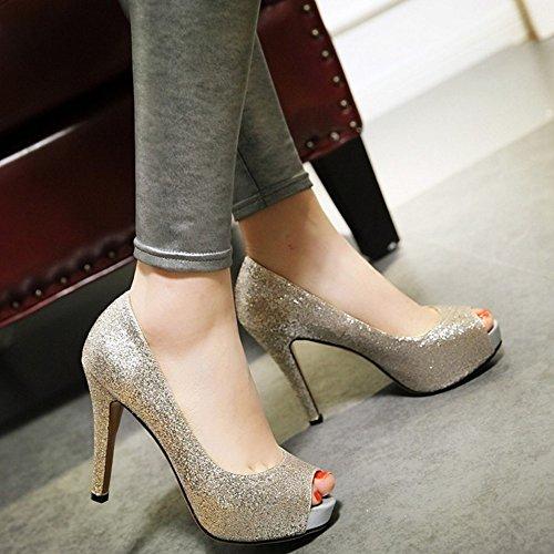 74890d97 ... COOLCEPT Mujer Moda Sin Cordones Tacon de Aguja Bombas Zapatos Peep Toe  Shiny Glitter Sandalias Oro ...