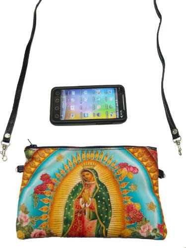 US Handmade Fashion CELL PHONE CASE, DIGITAL CAMERA BAG VIRGIN MARY GUADALUPE Latino Cultural Pattern Shoulder Bag US Handmade Cross Body Bag Handbag …