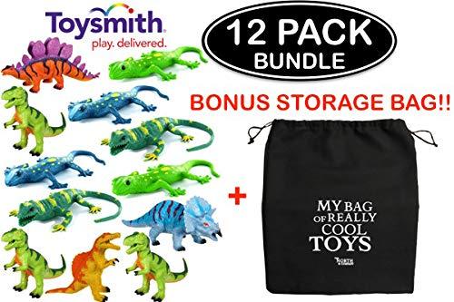 NorthCo Toysmith Squishimal 12 Pack Bundle - (6) Dinosaur Squishimals & (6) Lizard Squishials with Bonus Storage Bag