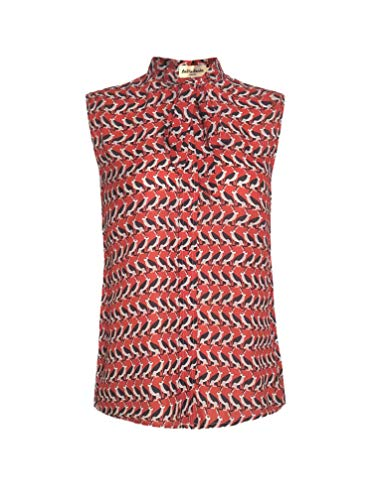 LaVieLente Women's Chiffon Animal Pattern Sleeveless Bow Tie Collar Button Down Blouse Shirt for Work Casual Tops (Red, Large)