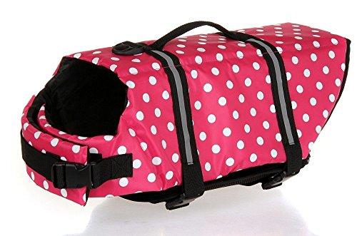 Ska Direct® #1 Ska Direct Doggy Life Saver Jacket- Cute Polka Dot Lightweight Safety Vest Clothing - Flotation Device Preserver Jacket Pink (Small)