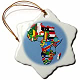 3dRose Flags of Africa Textured Design Snowflake Ornament, 3''