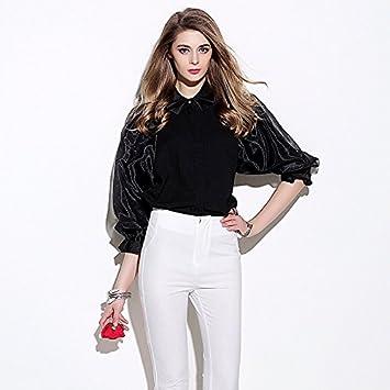 Señora de la moda señoras blusa y camisa suelta y camisas casuales,Black,S