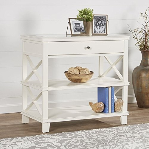 Cheap Side Table with White finish and Glass Top Rectangular Side Table With Storage with Drawer Side Table With Under Storage two Shelves Room Décor End Table White Table Furniture Table Top TV Table