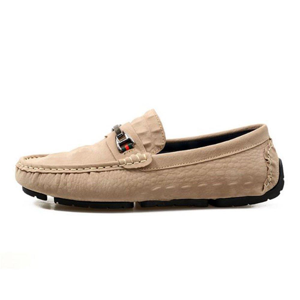 Zapatos de Cuero Casuales de los Hombres Mocasines Slip On Laofers 42 2/3 EU|Caqui