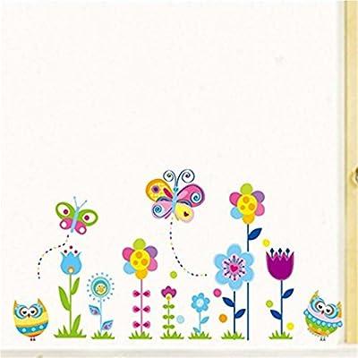 OrliverHL Colorful Flowers of Sunshine Life Wall Sticker Living Room or Bedroom Decor