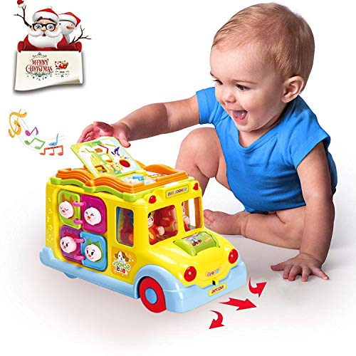 My Big Yellow School Bus - HOMOFY Baby Toys -Early Educational Intellectual Little Bus Toy Vehicle with Multiple Function,Various Animal Sounds,Music,Lights and Omnidirectional Auto-Sensing Wheel,Best Gift Toys for Toddlers