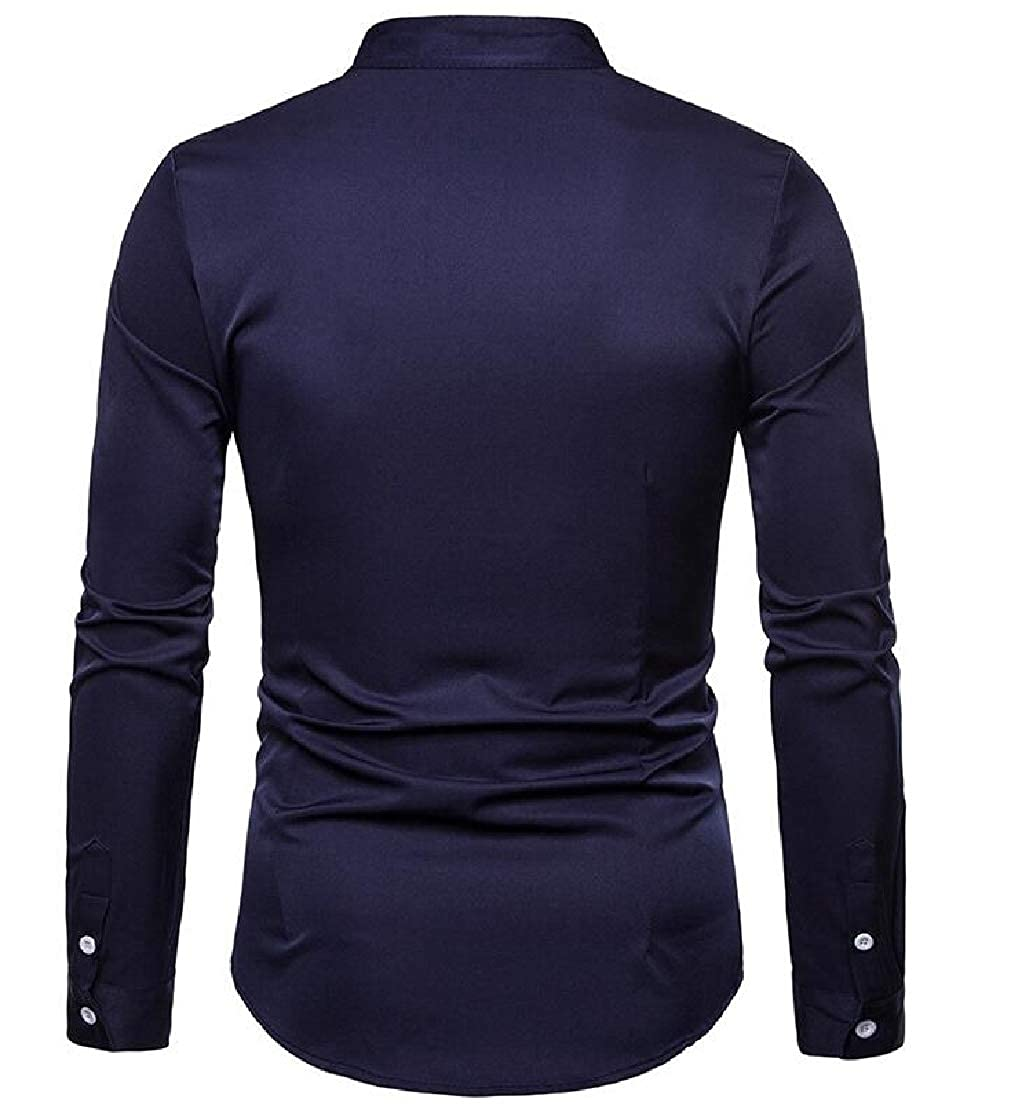 GLORYA Men Long-Sleeve Button Down Top Henley Printed Shirts