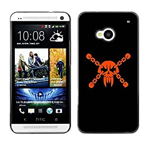 LECELL -- Funda protectora / Cubierta / Piel For HTC One M7 -- Badass Vampire Skull & Chains --